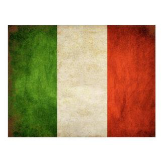 Carte postale avec le drapeau italien vintage sale