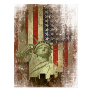Carte postale avec le drapeau vintage d'horizon de