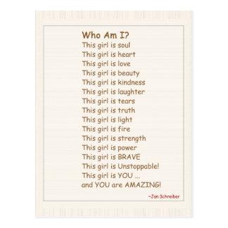 Carte postale avec le poème, encouragement pour