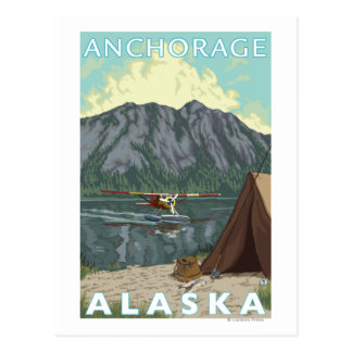 Carte Postale Avion de Bush et pêche - Anchorage, Alaska