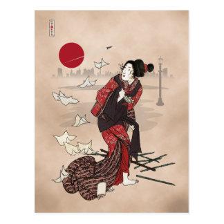 Carte Postale Awase d'ukiyoye de kumo de Genji