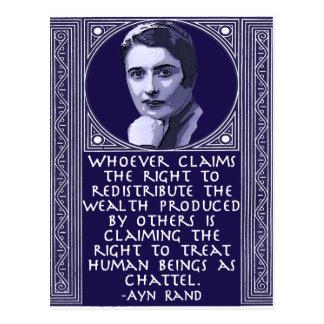 Carte Postale Ayn Rand sur la redistribution de la richesse