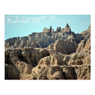 Carte Postale Bad-lands, le Dakota du Sud