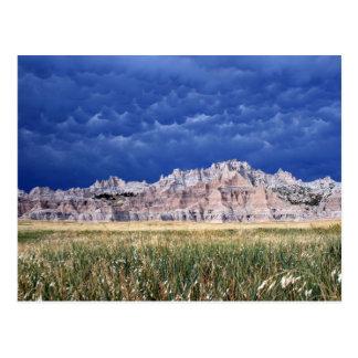 Carte Postale Bad-lands, prairie et nuages simples le Dakota du