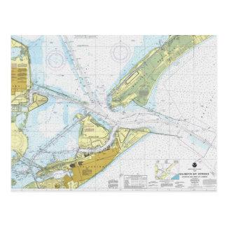 Carte Postale Baie de Galveston et diagramme de Harbur de ville