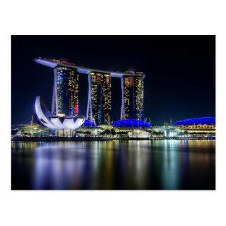 Carte Postale Baie de marina, Singapour la nuit
