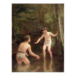 Carte Postale Baigner des garçons, 1873