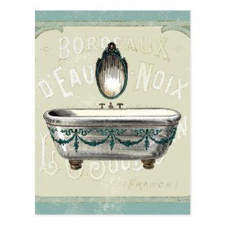 Carte Postale Baignoire vintage avec le miroir