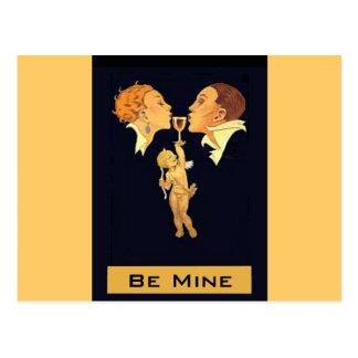 Carte Postale baiser de Valentine des années 1920
