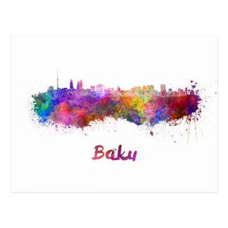 Carte Postale Bakou skyline in watercolor