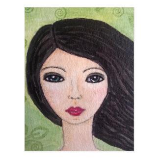 Carte postale balayée par le vent de fille