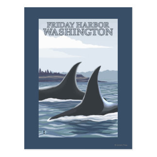 Carte Postale Baleines #1 - port de vendredi, Washington d'orque