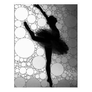Carte Postale Ballerine noire et blanche abstraite de danse