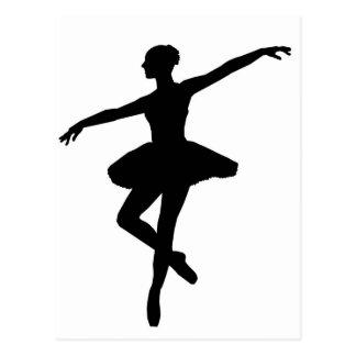Carte Postale Ballerine noire et blanche Silhoutte de danse