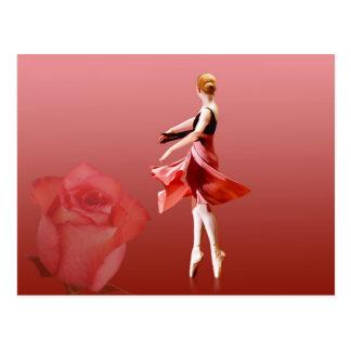 Carte Postale Ballerine sur Pointe avec le rose rouge