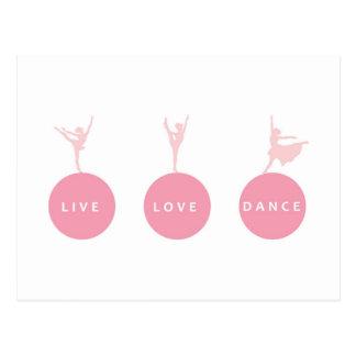 Carte Postale Ballerines vivantes de danse d'amour - rose -