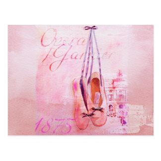 Carte Postale Ballet rose vintage de danseuse de ballerine
