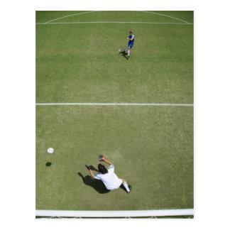 Carte Postale Ballon de football absent 2 de gardien de but du