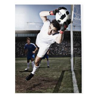 Carte Postale Ballon de football contagieux de gardien de but du