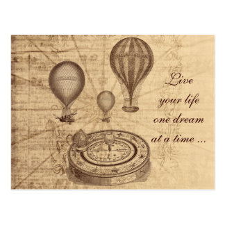 Carte Postale Ballons à air chauds vintages - steampunk