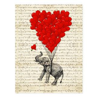 Carte Postale Ballons romantiques d'éléphant et de coeur