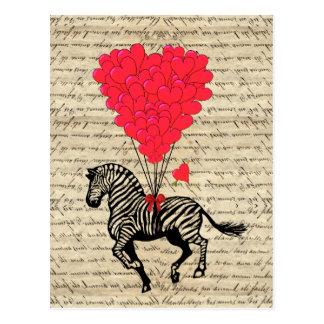 Carte Postale Ballons vintages drôles de zèbre et de coeur