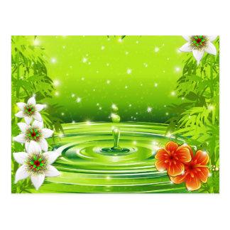 Carte Postale Bambou vert frais de l'eau et position tropicale