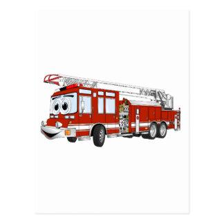 Carte Postale Bande dessinée de camion de pompiers de crochet et
