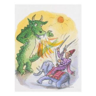 Carte Postale Bande dessinée de dragon de respiration du feu
