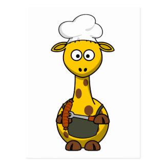 Carte Postale Bande dessinée de girafe de chef de BBQ