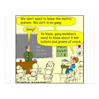Carte Postale bande dessinée de maths du système 303 métrique