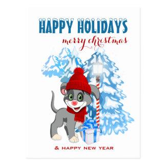 Carte Postale Bande dessinée de Noël de chiot de nez de coeur