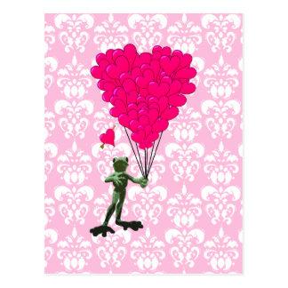 Carte Postale Bande dessinée drôle de grenouille et coeur rose