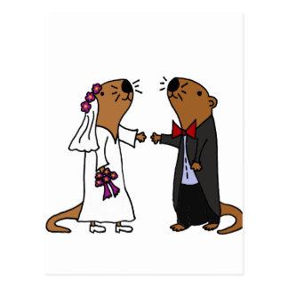 Carte Postale Bande dessinée drôle de mariage de loutre