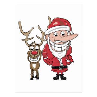 Carte Postale Bande dessinée drôle Père Noël et Rudolph