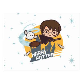 Carte Postale Bande dessinée Harry et vol de Hedwig après