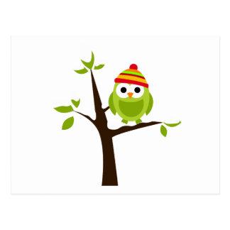 Carte Postale Bande dessinée mignonne d'arbre de neige de