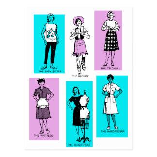 Carte Postale Banlieues vintages de professions d'années '60 de