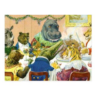 Carte Postale Banquet de Noël chez la terre animale