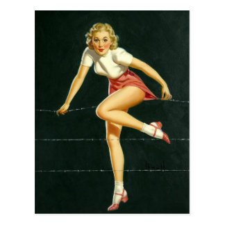 Carte Postale Barbed PinUp fence wire