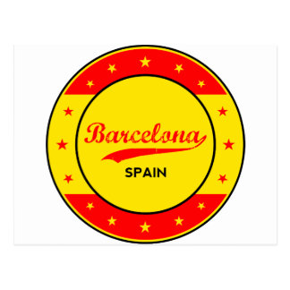 Carte Postale Barcelone, Spain, circle with flag colors