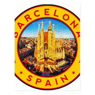 Carte Postale Barcelone, Spain, circle, yellow
