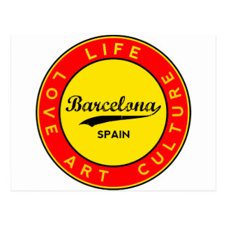 Carte Postale Barcelone, Spain, red circle, art
