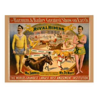 Carte Postale Barnum et affiche de cirque de Bailey