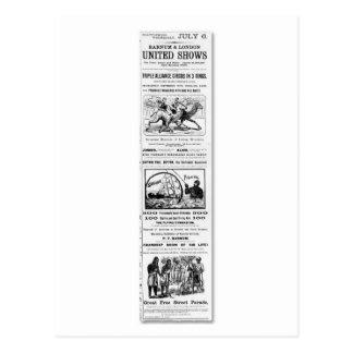 Carte Postale Barnum et annonce d'expositions unie par Londres