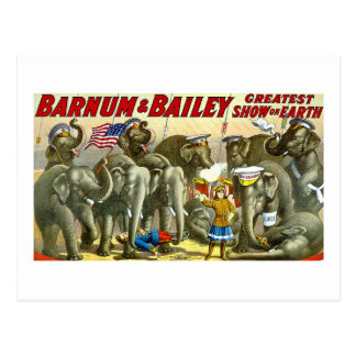 Carte Postale Barnum et Bailey - éléphants - annonce vintage