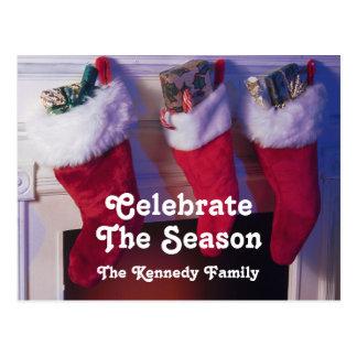 Carte Postale Bas de Noël pendant de la cheminée