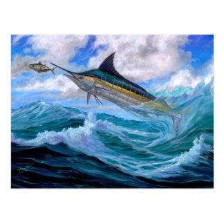 Carte Postale Bas vol Marlin bleu
