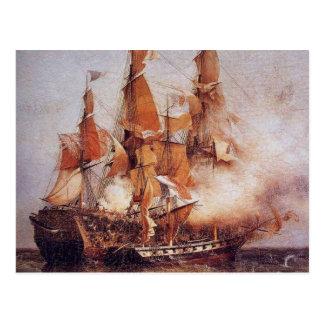 Carte Postale Bataille navale entre le Confiance et la voie HMP