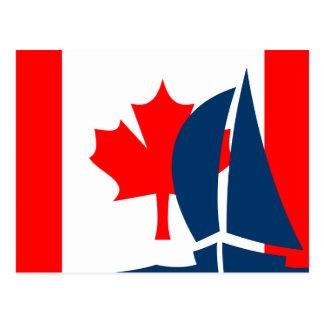 Carte Postale Bateau à voile canadien de drapeau Canada nautique